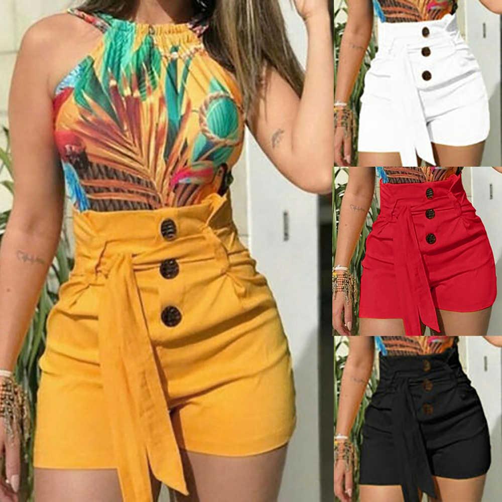 Vrouwen Hoge Taille Shorts Zomer Casual Vrouwelijke Knop Mode Shorts Sexy Skinny Korte Broek Met Riem Plus Size Korte Feminino