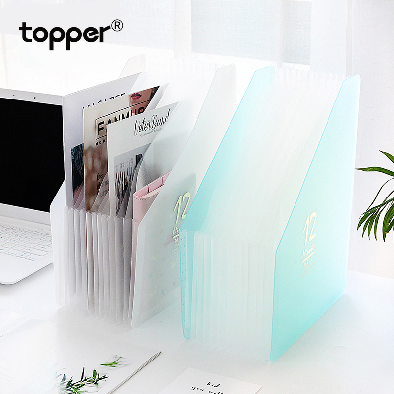 Hot Sale 12 Pockets Expanding File Folder A4 Organizer Portable Business File Office Supplies Document Holder Carpeta Archivador