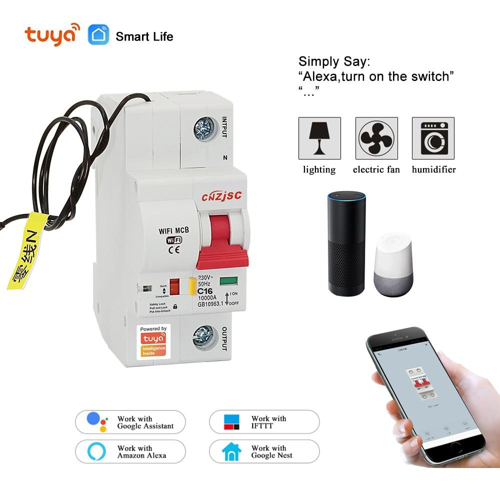 Protection intelligente de court-Circuit de surcharge de disjoncteur de la vie 1P WiFi de 220V avec Amazon Alexa pour la maison intelligente