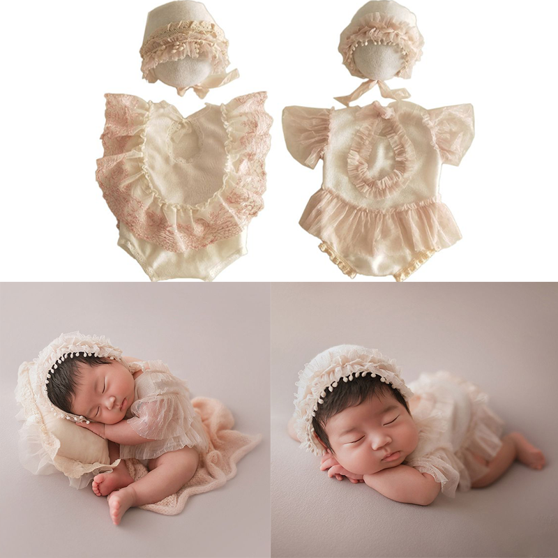 2Pcs Newborn Photography Props Suit Lace Romper Hat Set Knit Outfits Clothing Infants Shooting Photo Gifts
