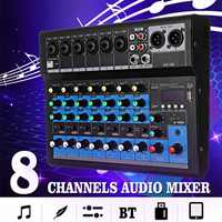 LEORY 8 Channel Digital Microphone Sound Mixer Console 48V Bluetooth Powerful Professional Karaoke Audio Mixer Amplifier Party