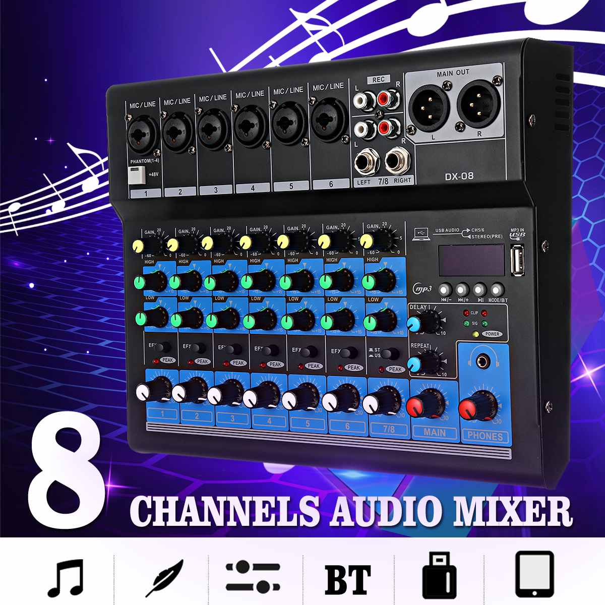 LEORY 8 Kanal Digital Mikrofon Sound Mixer Konsole 48V Bluetooth Leistungsstarke Professionelle Karaoke Audio Mixer Verstärker Party