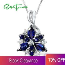 Silver Pendant Fit For Necklace Chain For Women Blue Flower Cubic Zirconia Pendant Pure 925 Sterling Silver Pendant Jewelry