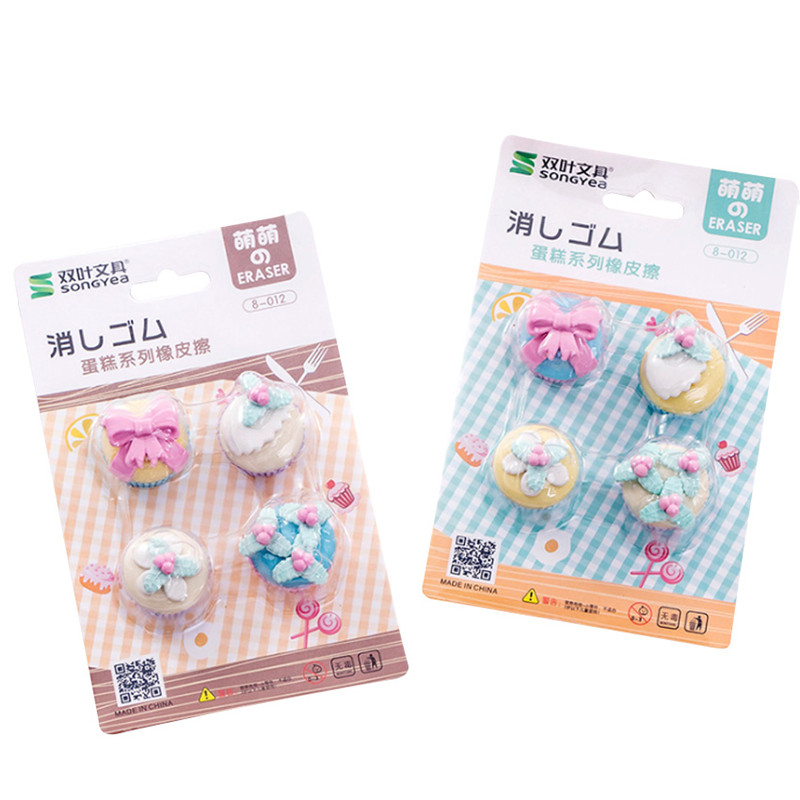 10sets/lot Creative Cute Fancy Dessert Cake Eraser Set Student Rubber Stationery Gift For Kids