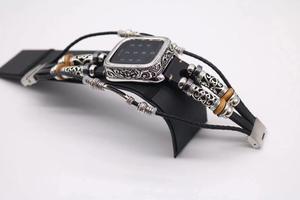 Image 2 - Moda retro Metal kasa bilezik kayışı için Apple saat bandı serisi 1 2 3 4 5 deri bileklik 38 42 40 44mm bağlantı kemer