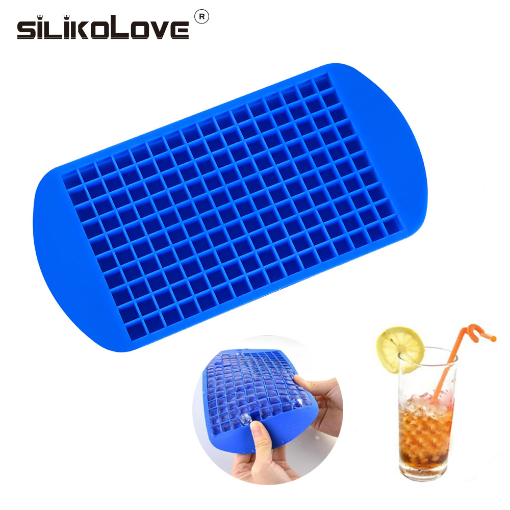 Blue Mini Ice Maker Mold 160 Grids Small Ice Cube Tray Frozen Cubes Silicone