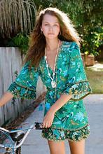 Bohemia Dress With Phoenix Printed for Women Flare Sleeve National 100%Viscose V-Neck Mini Dress все цены