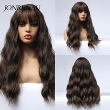 JONRENAU sentetik koyu kahverengi uzun doğal dalga Cosplay peruk Ombre gri kırmızı beyaz sarı saç peruk beyaz/siyah kadın