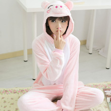 Pajama Overall Onesie Sleep-Wear Animal Kigurumi Adult Girl Boy Pink Winter Cartoon Pig