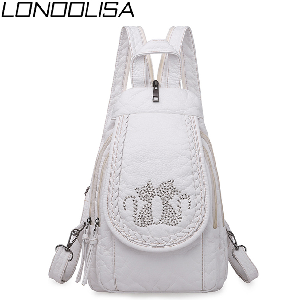 New Ladies Soft Washed Leather Backpack 3-in-1 Cute Cat Women Bagpack Small Travel Backpack For Girls Sac A Dos Mochila Feminina