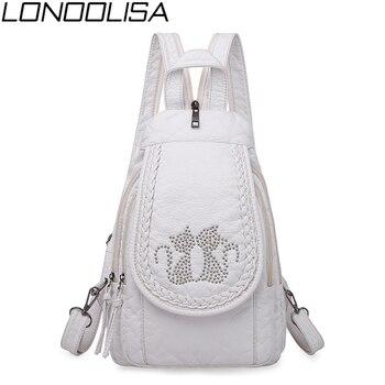 Novo senhoras macio lavado mochila de couro 3-em-1 bonito gato feminino bagpack pequeno mochila de viagem para meninas sac a dos mochila feminina