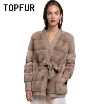 TOPFUR Woolen Coat Natural Mink Fur Coats Winter Women Genuine Leather Jacket Outwear Spring jacket With Belt Real