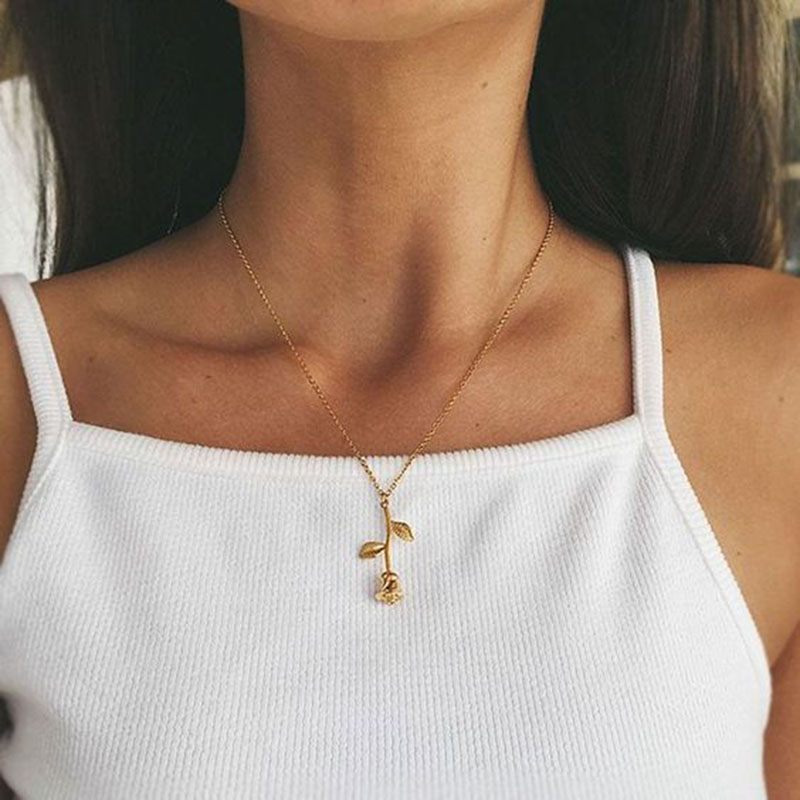 Beautiful Simple Rose Pendant Necklace Cute Flower Choker with Women in Silver color Rose Gold lindo collar rosa simple