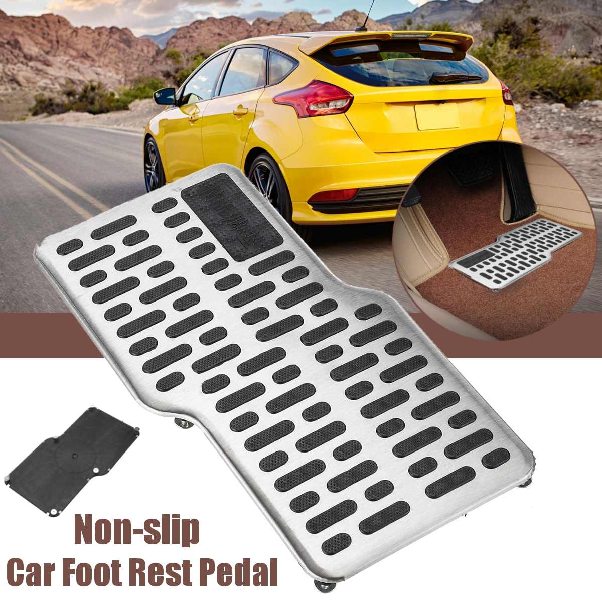 Black Beige Brown Car Foot Rest Pedal Plate Floor Carpet Mats Non-slip Stainless Heel Pad  For Car Truck Suv