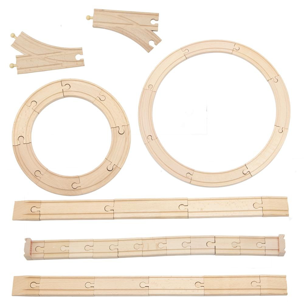 Wholesale Beech Wooden Tracks Train Set Toy Train Toys Railway Track Compatible For All Common Track  Wooden Train Toy