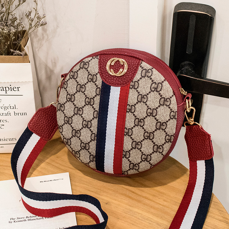 Korean Printed Small Round Bag Pu Women's Bag Summer New One Shoulder Slant Span Mobile Phone Bag
