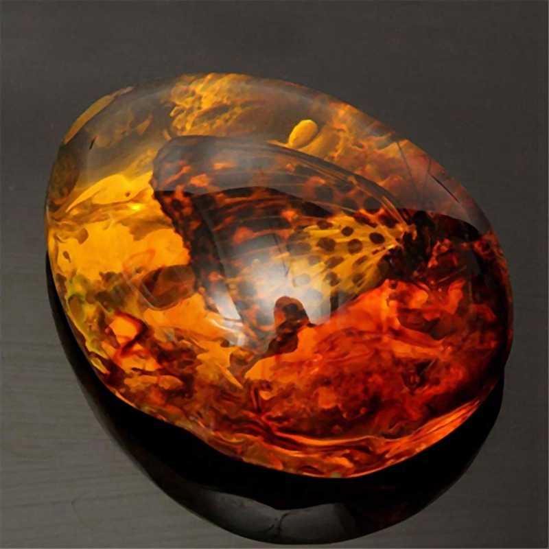 Fashion Alami Serangga Amber Batu Permata Ornamen Orisinalitas Butterfly Kepiting Dekorasi dengan Lubang Liontin Diy