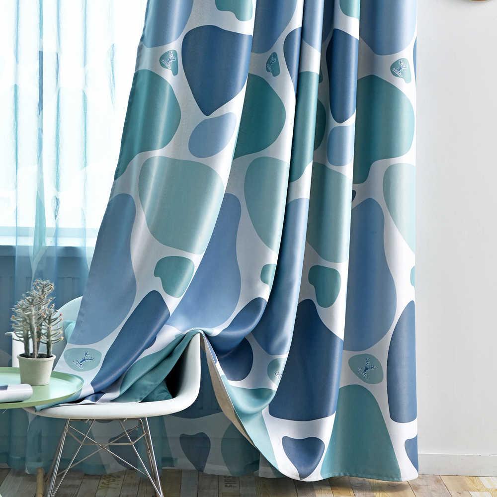 yellow gray cobblestone blackout curtains for living room modern blue shade cortina geometric circle window drapes wp419 5