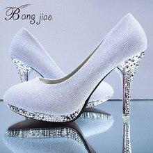 Женские свадебные туфли с кристаллами, женские вечерние туфли для невесты, красные туфли на высоком каблуке, привлекательные женские туфли лодочки, блестящие белые свадебные туфли