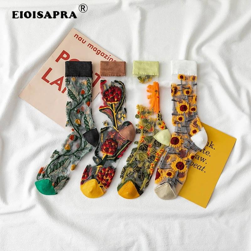 Новинка, креативные шелковые носки в стиле Харадзюку с кристаллами, забавные Подсолнухи, лоза, цветы, счастливые женские носки, повседневные высококачественные носки