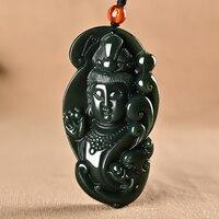 Natural hetian green jade pendant hand carved guanyin jade pendants women men jade necklace jadeite jade jewelry