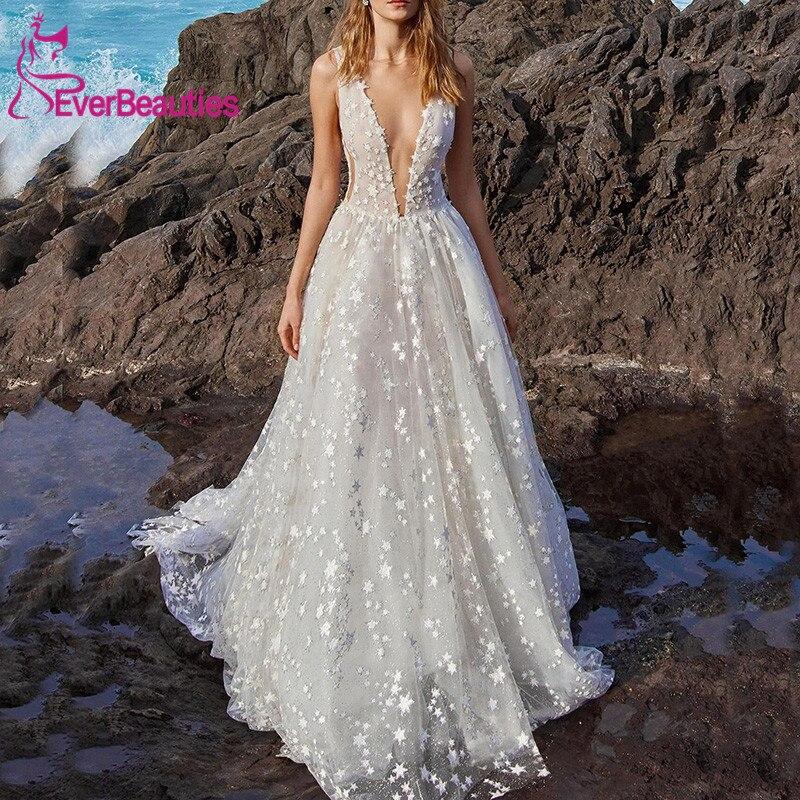 Shiny Stars Wedding Dresses V-Neck Robe De Mariee Backless Bride Dress Wedding Gowns Vestido De Noiva 2020