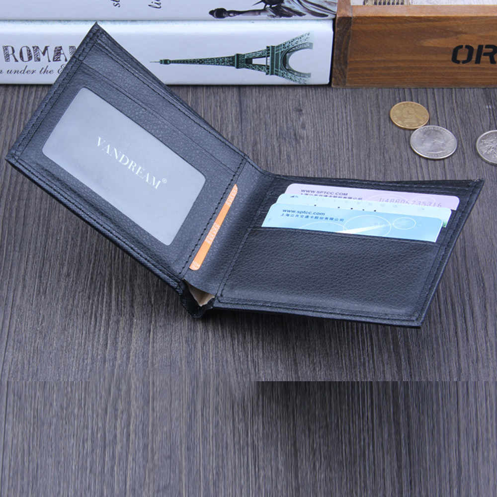 Pria Dompet Kulit dengan Koin Saku Bifold Bisnis Identitas Pemegang Kartu Kredit Dompet Tinggi Kualitas 2019 Cetak Huruf Walle