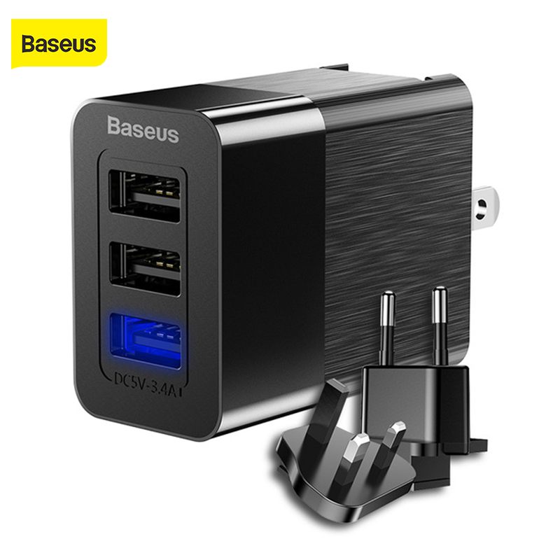 Baseus 3 in 1 <font><b>USB</b></font> <font><b>Charger</b></font> 3 Port Wall <font><b>Charger</b></font> EU US UK Plug For iphone X Samsung S9 2.4A Replaceable Plug Protable Travel Plug image