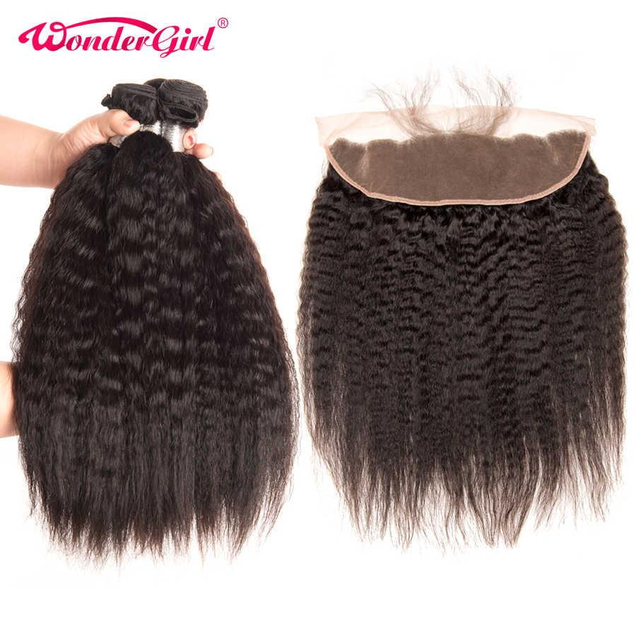 Brazilian Kinky Straight Hair 3 Bundles With Frontal 13x4 Lace Frontal Closure With Bundles Remy Human Hair Bundles Wonder girl