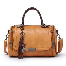 купить Women Fashion Leather Shoulder Bag Fox Pendant Crossbody Handbag Ladies Top Handle Bags Satchel дешево