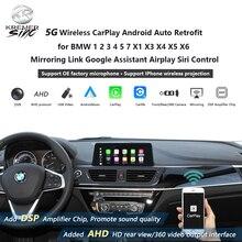 Drahtlose CarPlay Android auto Retrofit für BMW 1 2 3 4 5 7 X1 X3 X4 X5 X6 Mirroring Link google Assistent Airplay Siri Steuer
