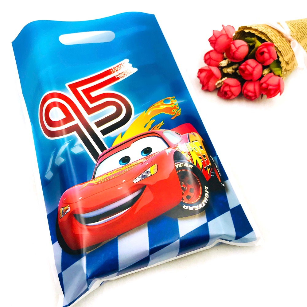 10pcs/set  Lightning Mcqueen Boys Party Supplies Gift Bag Candy/Loot Bag Cartoon Party Festival&Event Birthday Decoration