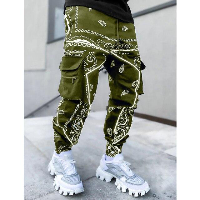 Hip hop printing pants men trousers fashion streetwear sweatpants for men joggers High street Loose cargo pants men 3