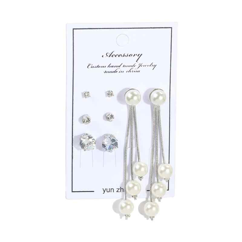 4 para/zestaw elegancka imitacja białej perły kolczyki Tassel zestaw trójkąt okrągły cyrkon kreatywne kolczyki dla damska biżuteria na prezent