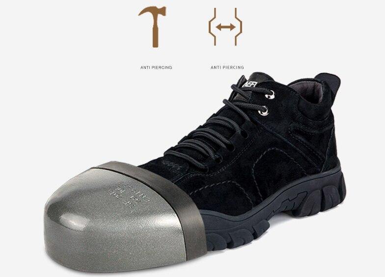 Çelik ayak iş güvenliği ayakkabıları erkekler Wilderness Survival taktik bot sıcak su geçirmez kar botları Trekking Sneakers lüks tasarımcı