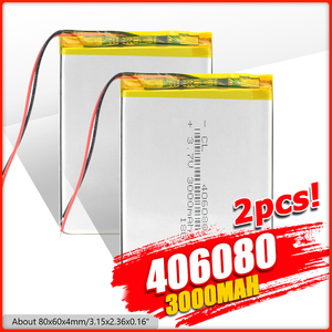 1/2/4x 80x60x4mm 406080 3.7V 3000mAh Rechargeable Li Polymer Battery Large Capacity 3000mAh Li Ion Po Lithium Tablet Laptop DVD
