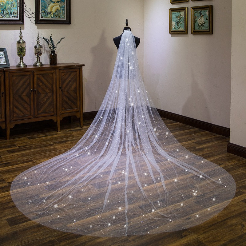 Wedding Accessories Bridal Veils With Comb Sparkly One Layer  4m Ivory Cathedral/outdoor Long Wedding Veil Velos De Noiva