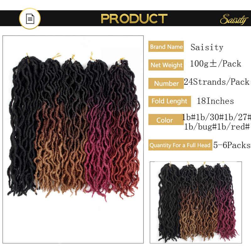 Saisity 18 pulgadas 24 hebras sintético Ombre Faux Locs extensiones de cabello de ganchillo rizado suave trenzas de ganchillo Dread extensiones de cabello