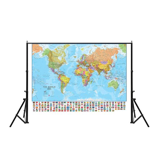150x100cm The World Political Physical Map Foldable No fading World Map With National Flags For Culture