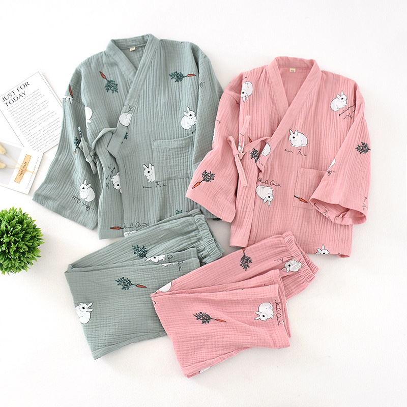 Men And Women Cotton Gauze Kimono Childrens Pajamas Casual Cartoon White Rabbit Printing Baby Girl Clothes Family Pajama Sets