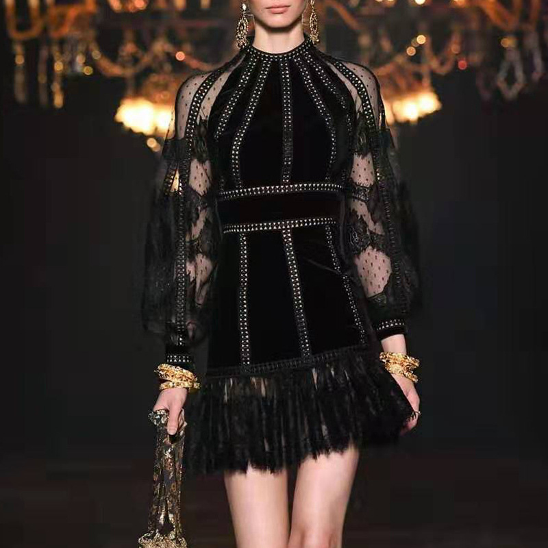 Femmes automne robe velours évider dentelle noir lanterne manches pure glands Sexy robe femmes