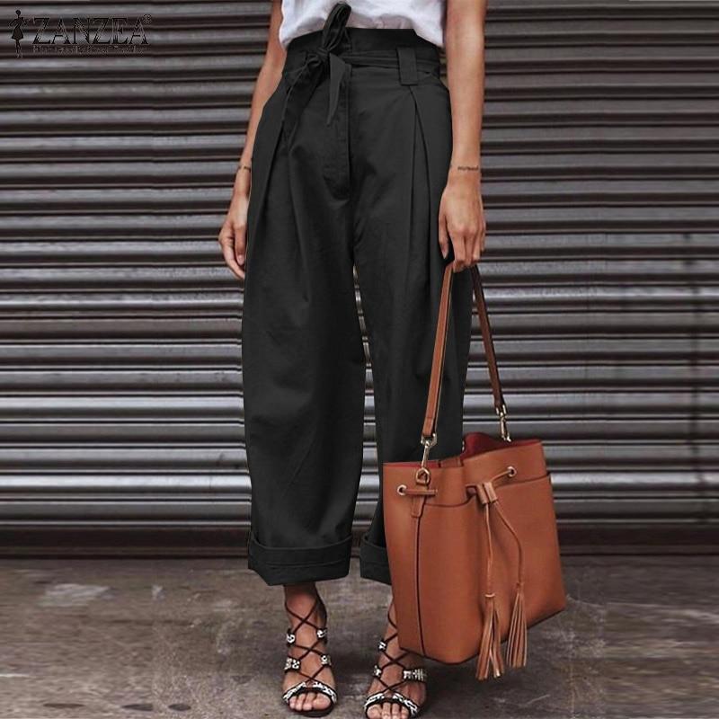 ZANZEA High Waist Paper Bag   Pants   Women   Wide     Leg     Pants   with Belt 2019 Fashion Ladies Work Chic Trousers Zipper Up Streetwear 5XL