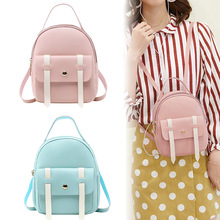Mini Backpack Women PU Leather Contrast Color Backp