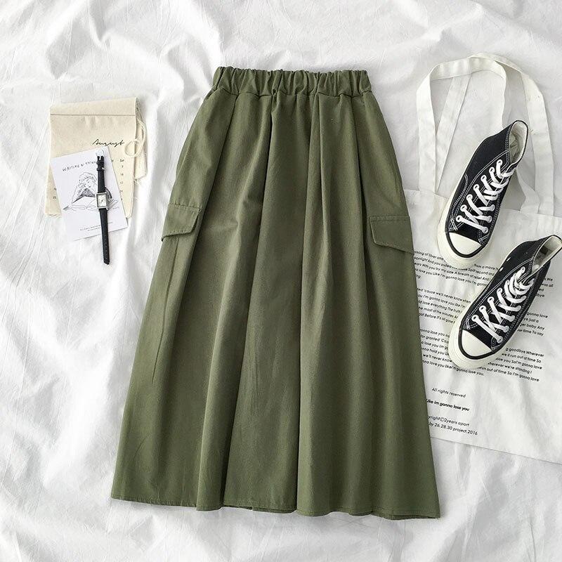 2020 Summer A-Line Skirt Women High Waist Stretch Women Cotton Long Skirt Casual Clothes Faldas Jupe Femme Saia Women Skirts