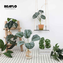 Fake Plants Green Artificial Plants Leaves Table Living Room Decoration Arrangement For Party Home Hotel Garden Outdoor Decor