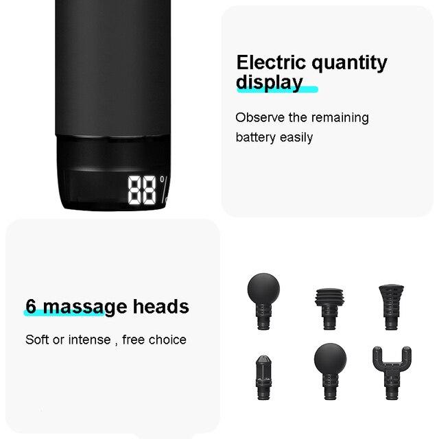 Pistola de masaje profesional con pantalla LCD, masajeador muscular profundo, alivio del dolor, relajación corporal, Fitness, M2-12V 6