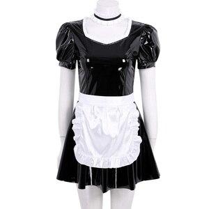 Image 2 - Женский костюм для косплея французской горничной для взрослых, вечерние платья трапециевидной формы с пышными рукавами из лакированной кожи с фартуком и повязкой на голову