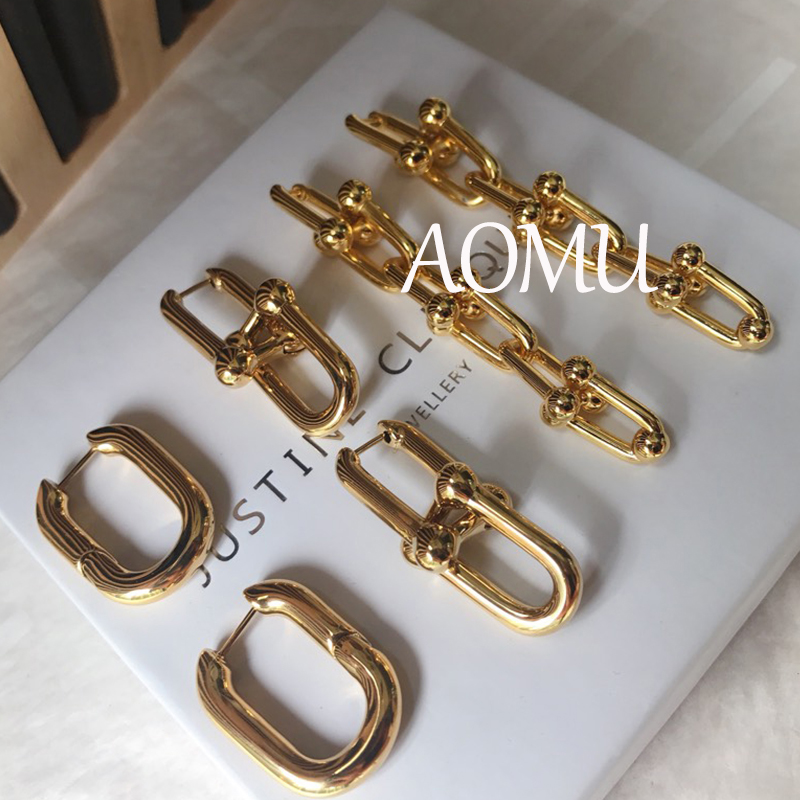 AOMU Best Selling French Gold Color Chic O Shaped Chain Hoop Earrings Women's Chunky Hoops Geometrical Brass Earrings Minimalist