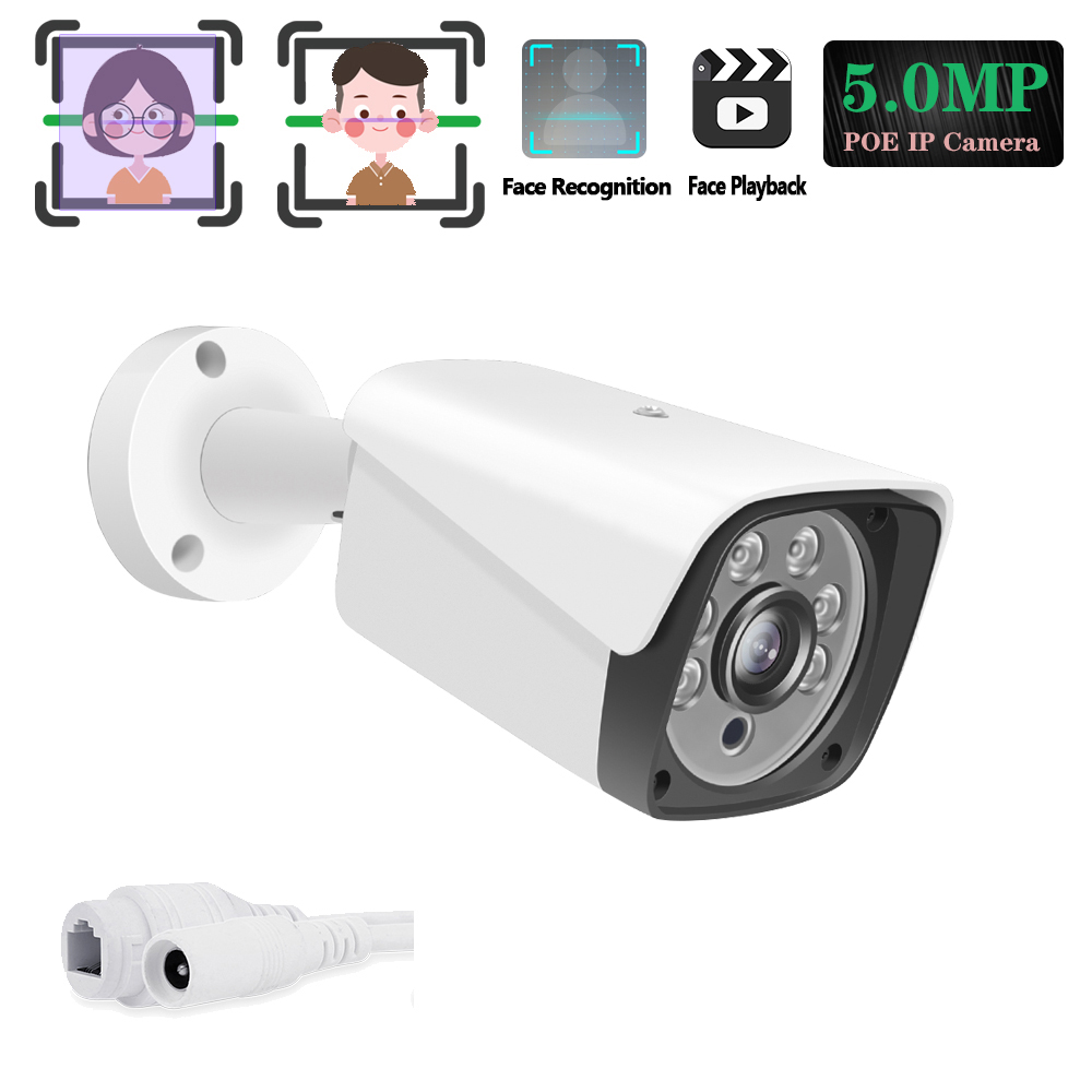 Hi3516E300 H.265 HD 5MP bezpieczeństwo POE twarz kamera IP 2592*1944 metalowa wodoodporna POE ONVIF Bullet zewnętrzna kamera monitorująca CCTV