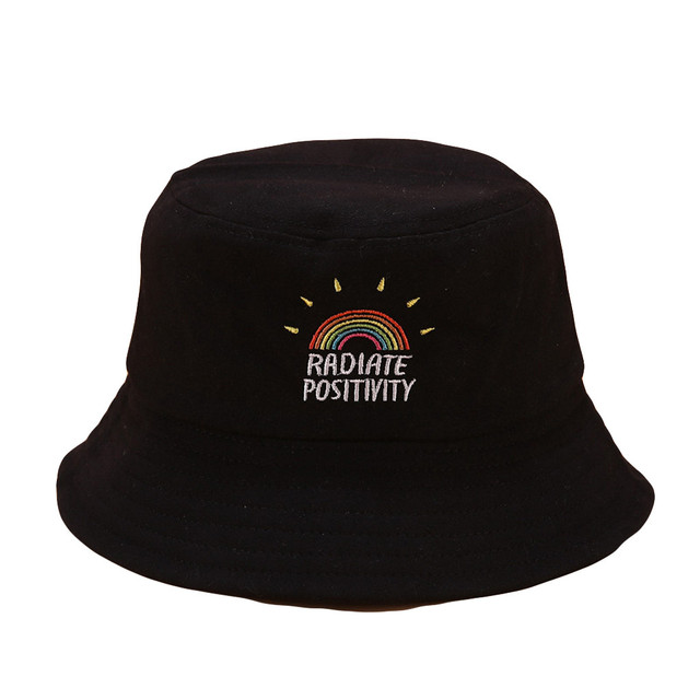 New Spring Big Wide Brim Hats For Women Fashion Women Rainbow Print Canvas Foldable Outdoors Bucket Hat Sun Hat Cap YL10
